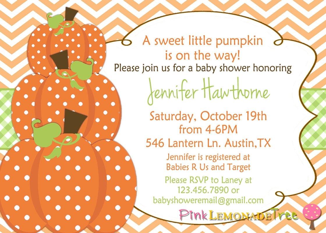 pumpkin baby shower invitation autumn baby by pinklemonadetree