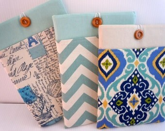 Macbook 13 Case, Macbook case Sleeve Macbook 13 Air or Pro Case Foam Padded 13in- Pastel AQUA Collection Luscious Blue Trio Collection