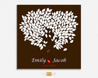 Custom Wedding Guestbook Alternative Poster Wedding chocolat. Print Guest Book Print Wedding Gift Custom Colors of leaves you want