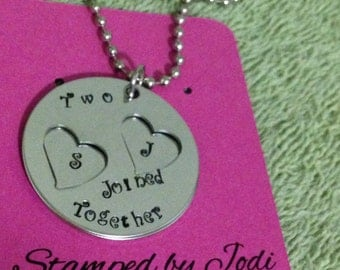 Hand stamped two hearts joined together with initials