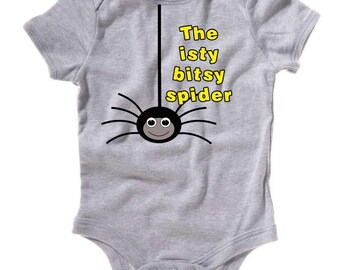 Custom Baby Onesie One Piece Bodysuit Nursery Rhyme Itsy Bitsy Spider - lots of colors!