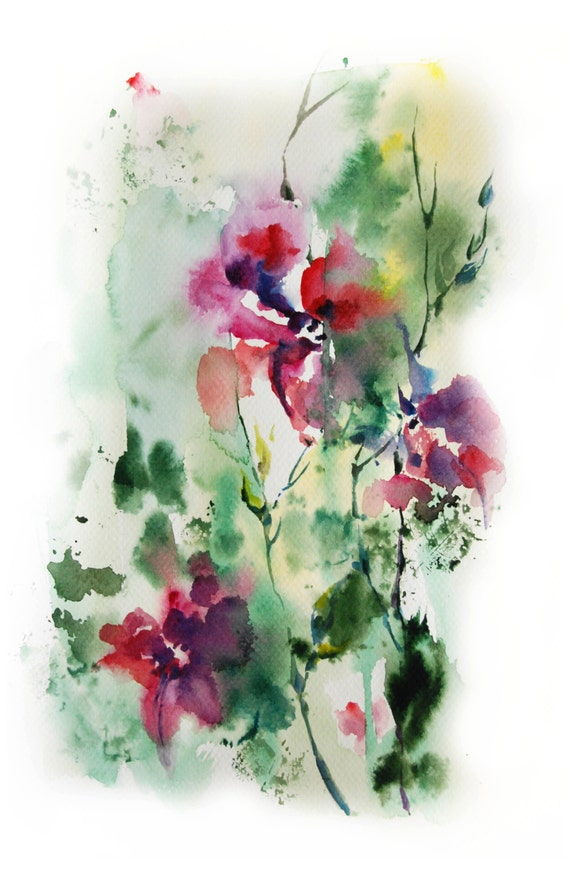 Abstract nature original watercolor painting pink by canotstop for Abstract watercolour flowers