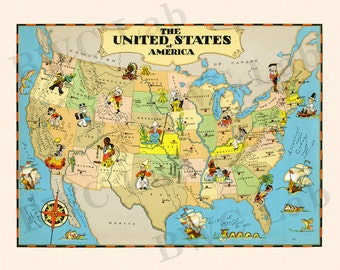Pictorial Map of United States - colorful fun illustration of vintage US map