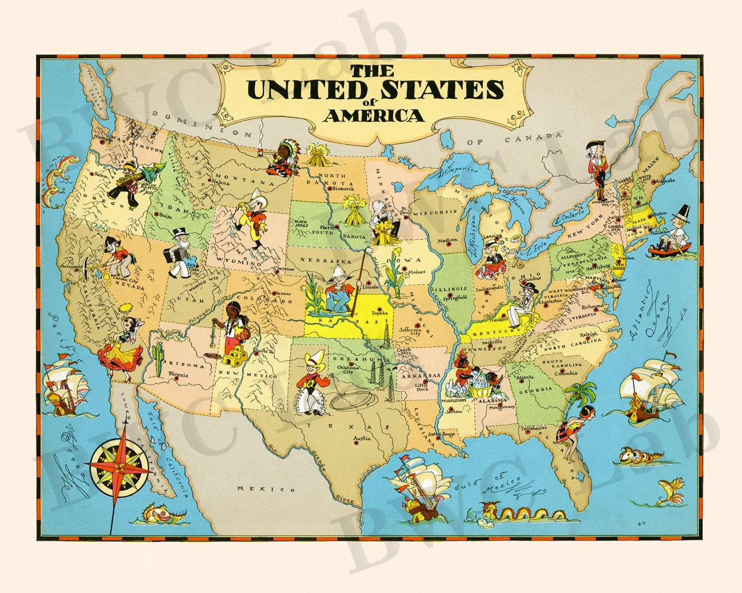 Pictorial Map Of United States Colorful Fun Illustration Of - Us map illustration