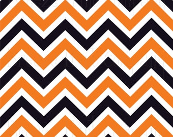 Orange black and white chevron craft  vinyl sheet - HTV or Adhesive Vinyl -  Halloween large zig zag pattern HTV69