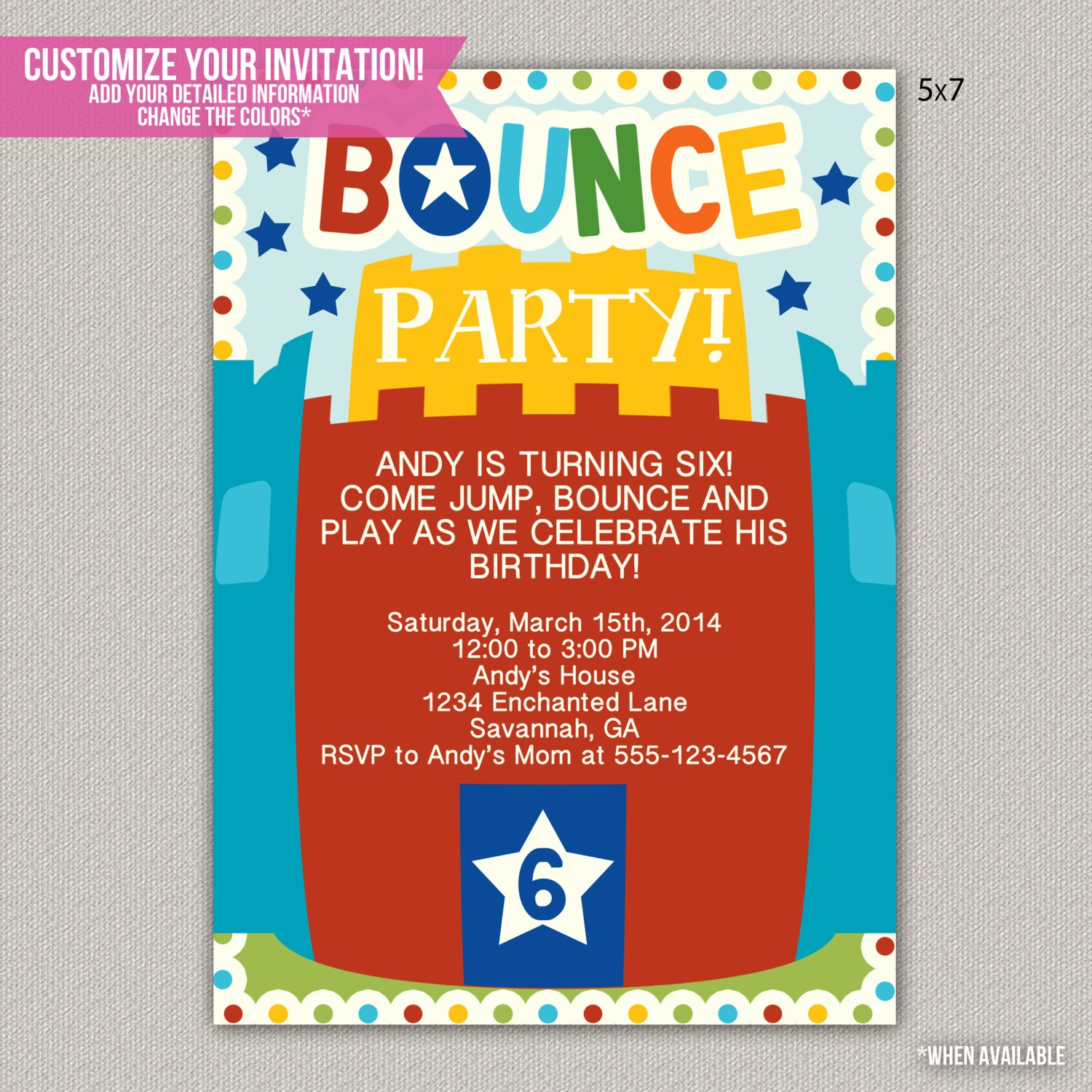 Bounce Party Invitation is best invitation example