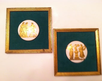 Porcelain Mounted Medallions With Greek Characters