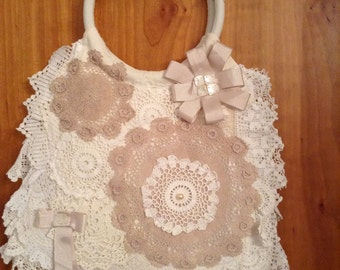 Vintage, Boho, Shabby Chic Bag made with Antique, Vintage lace and crochet