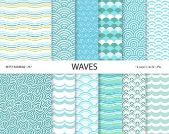 Wave Digital paper, sea, beach, waves, ocean, sea waves, water, blue background paper, scrapbook paper, scrapbooking, 12 papers - BR 267