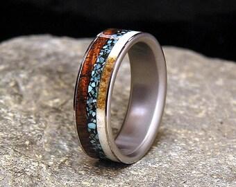 Curly Koa Turquoise Antler Inlay Titanium Wedding Band or Ring