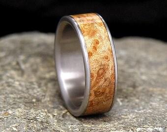 Maple Burl Titanium Wood Wedding Band or Ring