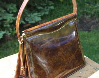 Vintage Purse / Bag / Clutch. Etra Handbag. Tortoise Shell Brown Patent. Full Clasp Closure