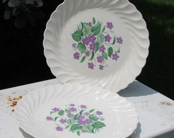 Vintage Royal Violet China Serving Platters by Royal China USA with Delicate Hand Painted Violet Pattern Dinnerware Set of 2 Serving