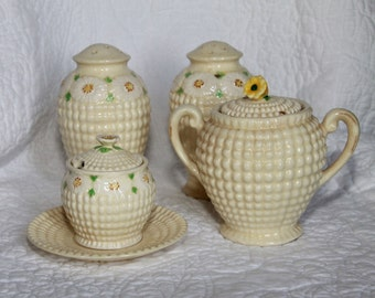Vintage Hobnail Salt and Pepper Shakers and Sugar Server by Maruhon of Japan in Cream with Floral Daisy Accents. 7 Piece Set. Home Decor