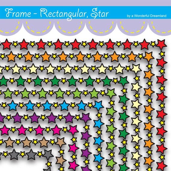 Printable Digital Paper PDF & PNG File - Border Frame Star Rainbow ...