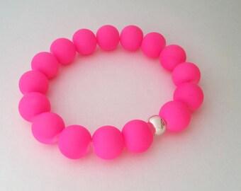 Neon pink matte glass  bracelet gift idea for her