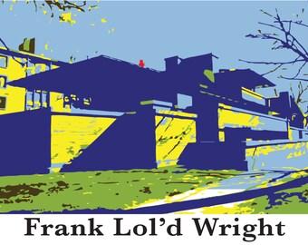 Frank Lloyd Wright, Cat print, Robie House, Guggenheim, funny wall art, andy warhol, graphic illustration, New York City, architecture art