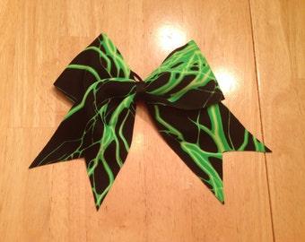 Green Lightning Cheer Bow