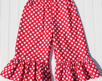 Red Polka Dot Ruffle Shorts, Ruffle Capris, Ruffle Pants