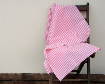 Plaid Fabric - Pink Check Fabric - Gingham Fabric - Square Fabric -  1 yard