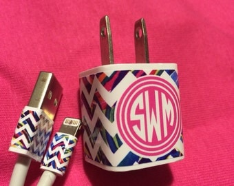 Iphone Charger Wrap, Iphone Charger Decal, Chevron Monogram Iphone Charger Decal