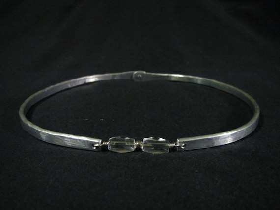 CLEARANCE: Discreet Aluminum Wire Slave Day Collar - Locking w/ Clear Glass Beads - Up to 16.25 inch Neck