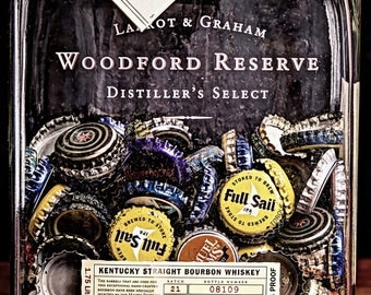 Whiskey Bottle Old Beer Caps Still Life Fine Art Photography PRINT Giclee