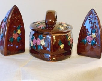 Vintage Novelty Iron-Shaped Sugar Bowl with Matching Salt and Pepper Shakers