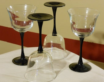 Set of Four Luminarc Americana White Wine Glasses with Black Stems