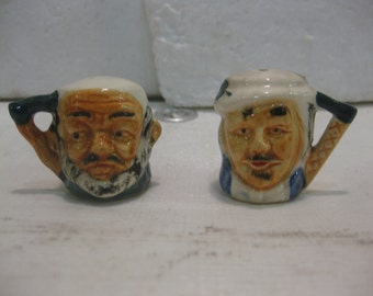Vintage Head Busts Salt & Pepper Shakers With Handles