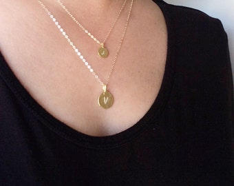 Lena • Personalized multi-strand initial necklace // layered stamped necklace // 14k gold filled chain