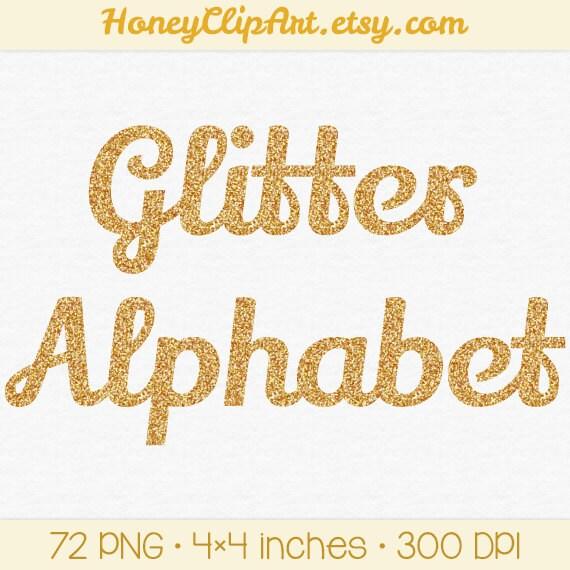 Gold Glitter Alphabet Clip Art, Digital Glitter Letters, Cursive ...