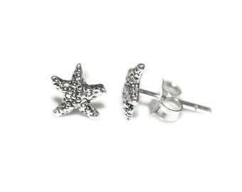 Starfish Sterling Silver Stud Earrings 10mm - Sterling Silver Starfish Post Earrings - Ocean Earrings - Kids Silver Earrings