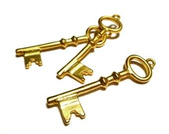 "18k Gold Key Pendant Charm, Large Key Charm Pendant over Bronze 1 3/4"" CA820B"