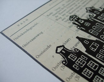 Amsterdam vintage art: unique handmade lino print of canal houses on vintage 1916 list of Amsterdam street names, Onb-Oos. Signed, unframed.