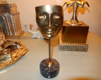 BRASS MASK on MARBLE Base