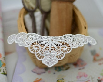 Sewing Altered Couture Art, Lace Necklace Supplies, Embroidery Venice Off White Nekclace Applique Lace
