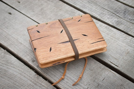Handmade photo album with distressed oak wood cover