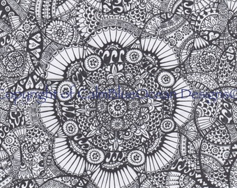 Black and White Paisley Circles Pattern - A4 sized - Unframed.