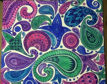 Paisley Canvas in Blues, Green, Pink and Purple. 60 x 50cm