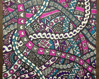 Paisley Tangle Pattern Canvas in Purple, Aqua and Pink. 30 x 30cm