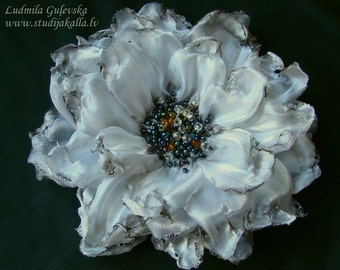 Handmade grey-white organza flower brooch, flower clip & pin