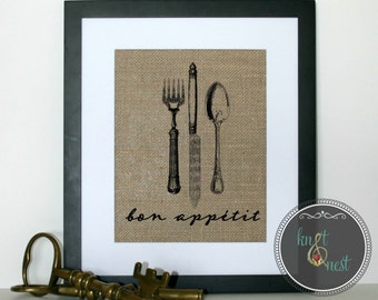 Bon Appetit Kitchen Art on Burlap, Burlap Kitchen Decor, Fork Knife and Spoon Bon Appétit on Burlap, Kitchen Accent, Burlap Kitchen Decor