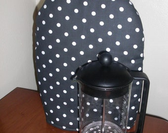 French Coffee Press Cozy InsulBright and Warm Fleece Small Black and White Polka Dots
