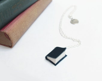 Dark Charcoal Gray Leather Book Necklace - Handcrafted/ Upcycled - Leather Bound Miniature Literature - Book Jewellery - Ex Libris