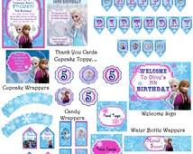 Frozen Birthday Party Decor Pack!  JPEG 300 dpi Printable DIY, Disney's Frozen movie Queen Elsa Princess Anna Olaf Customize Frozen Frozen