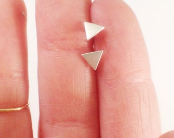 Sterling Silver Triangle Studs, Geometric Stud, Post Earring