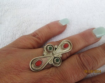 NATIVE AMERICAN RING, turquoise silver, coral turquoise, sterling handcrafted, vintage silver, vintage ring, statement silver, size 7