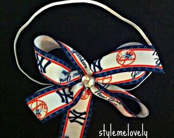 New York Yankees Baby Girl Boutique Bow Elastic Headband