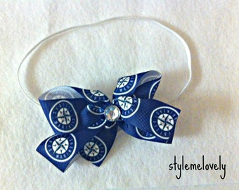 Seattle Mariners Baby Girl Boutique Bow Elastic Headband